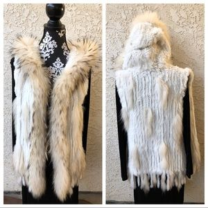Fur sweater knit long vest boho festival hoodie EC